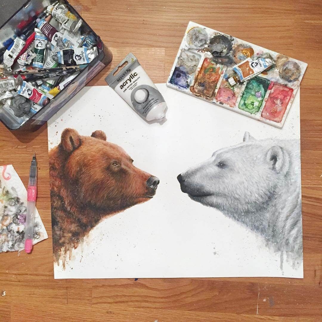 06-Grizzly-Bear-and-Polar-Bear-K-Schwarzoviously-Wildlife-Animal-Paintings-www-designstack-co