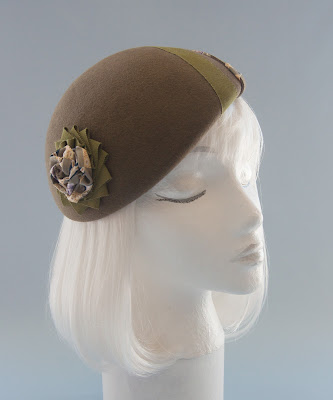 olive green fur felt beret with silk rosette and ribbon cockade