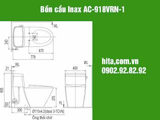 Giá, kích thước bồn cầu Inax AC-918VRN-1 giá gốc 2018