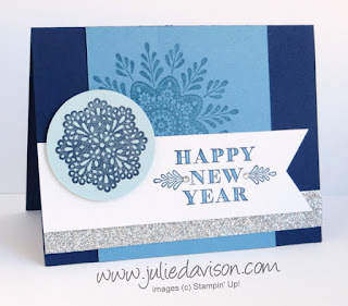 Stampin' Up! Frosted Medallions Happy New Year Christmas Card #stampinup www.juliedavison.com