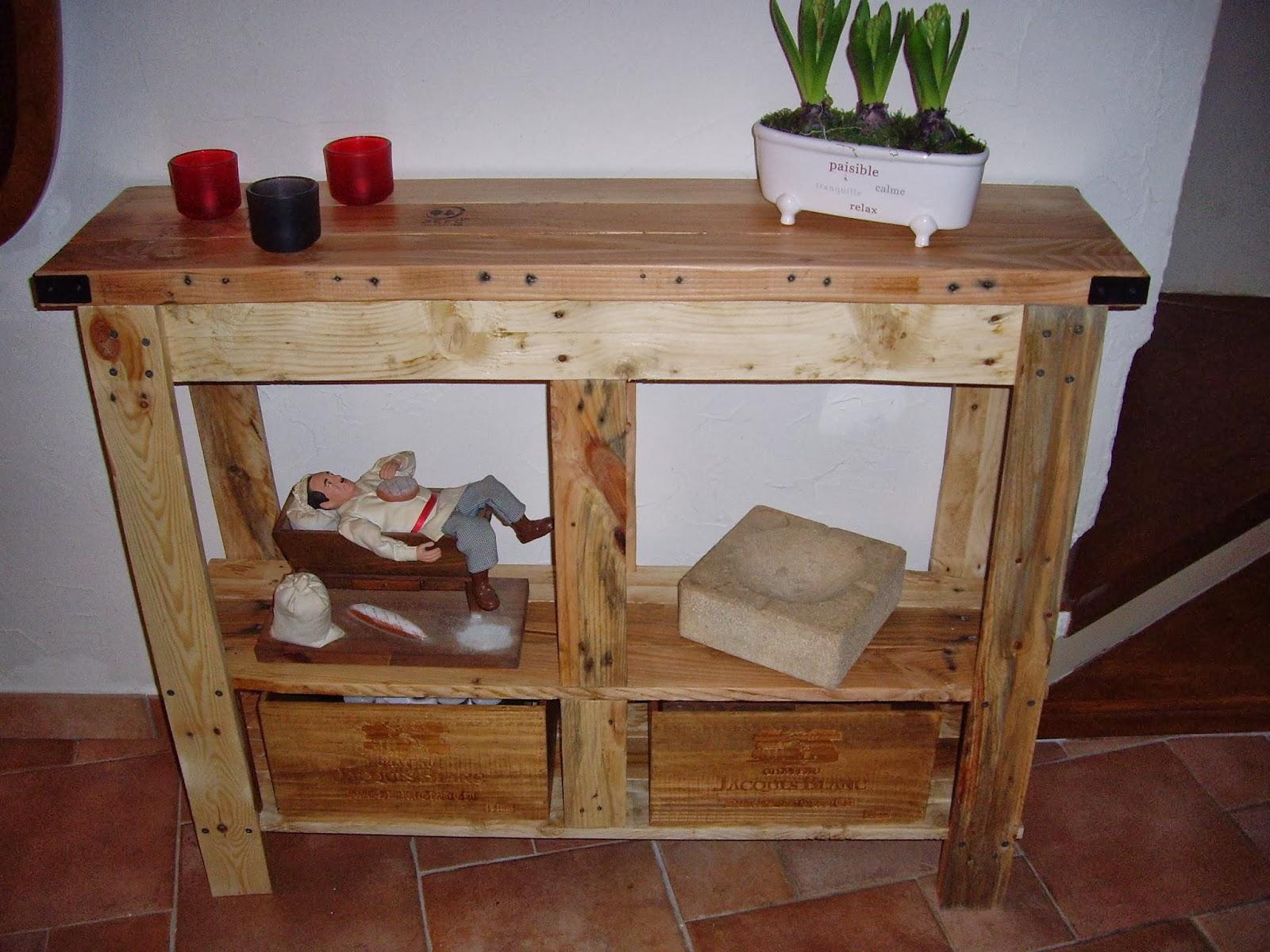 Objets d co tutoriels et meubles en bois de palettes console en bois de palette suite - Palette bois deco ...