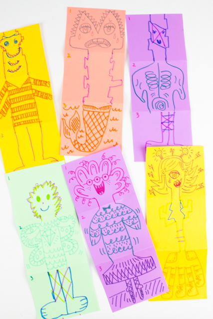 how to play the mix-up monster doodle art game activity with kids and family