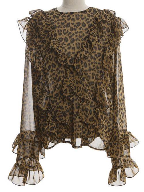 Frill-Trimmed Leopard Print Blouse