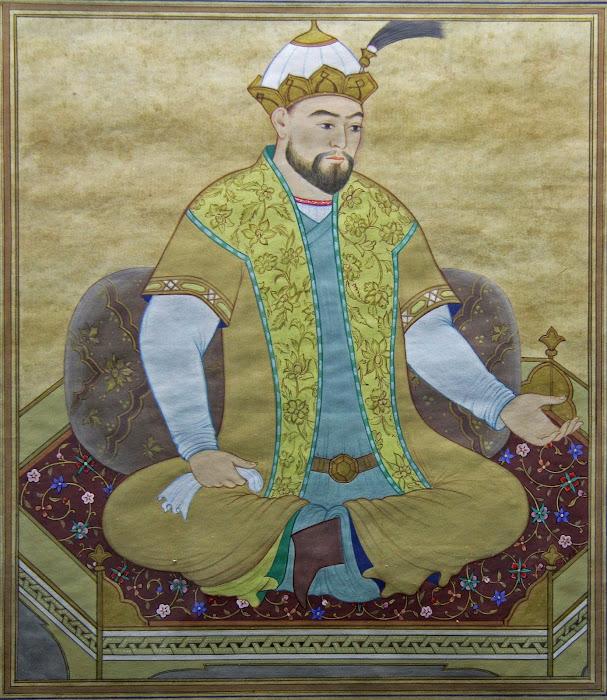 Amir Timur, miniature du XVIe siècle, observatoire d'Ulugh Beg, Samarcande, © L. Gigout, 2012