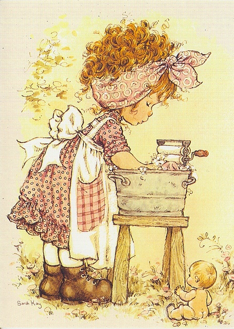 Desenho de Sarah Kay - Lavando Roupa