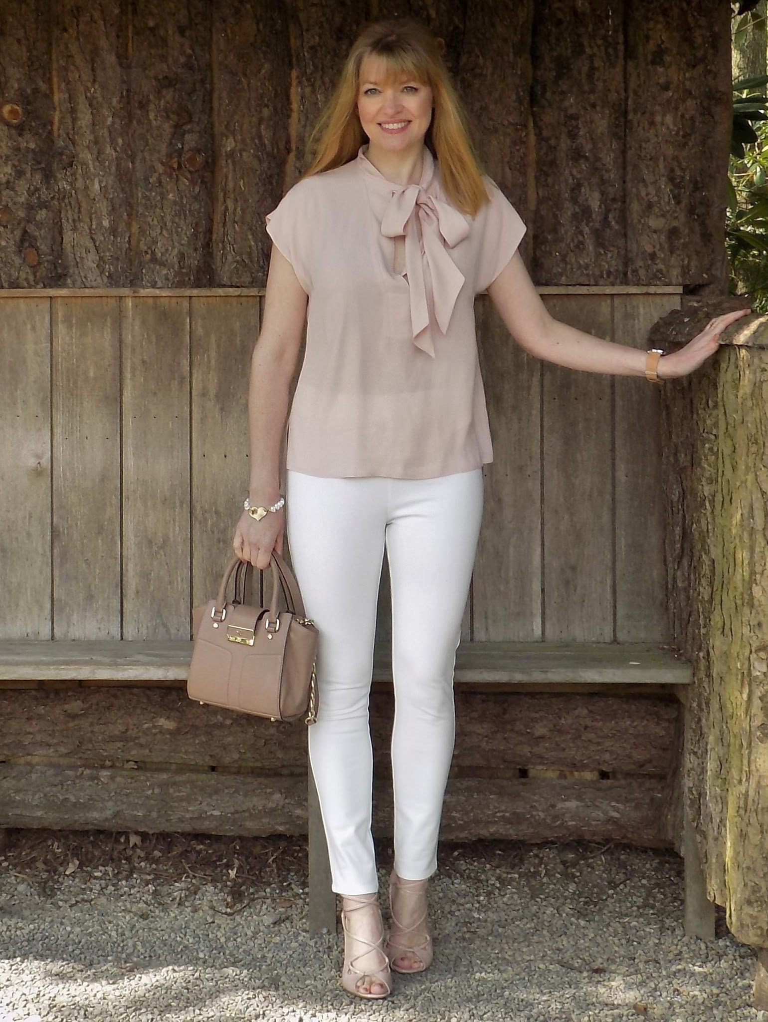 Pink pussy bow blouse with chalk white ankle grazers