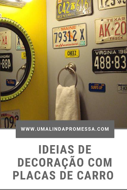 decoração de casa com placas de carro