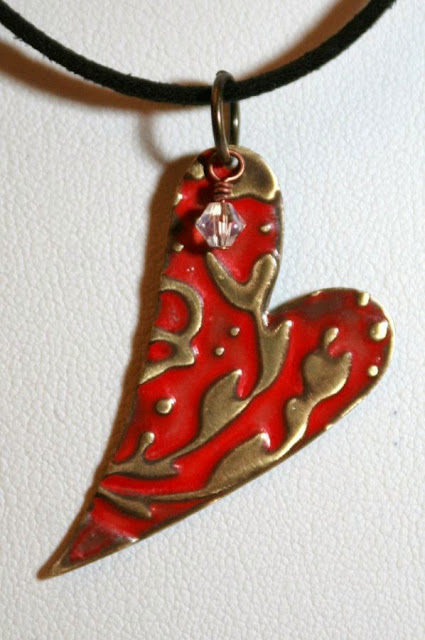 Happy 2nd blogo-versary!! Of Brass and Colours: Red heart ~ Vintaj natural brass components, ColorMeThis! patina, swarovski crystals, leather, brass wire, embossed, metal work, wire wrapping, ooak jewelry, ooak necklaces :: All Pretty Things