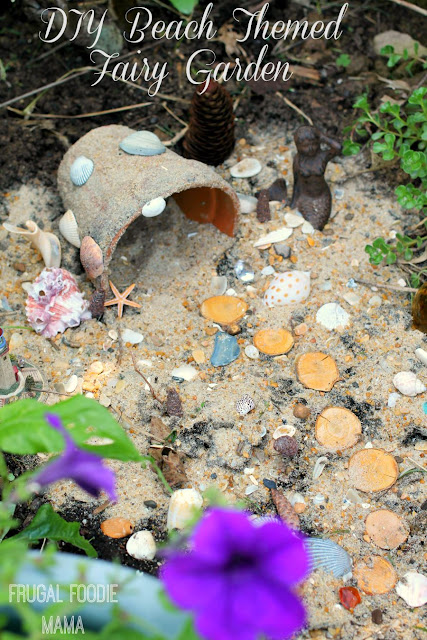 This easy to make DIY Beach Themed Fairy Garden is the perfect way to preserve and cherish those summertime beach memories. #inspiredgathering