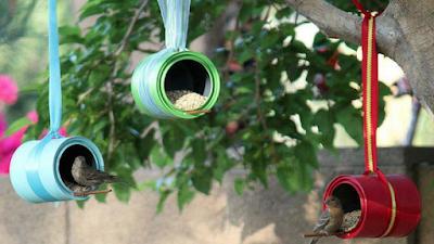 decoração jardim reciclavel ninho latinha reciclagem sutentabilidade