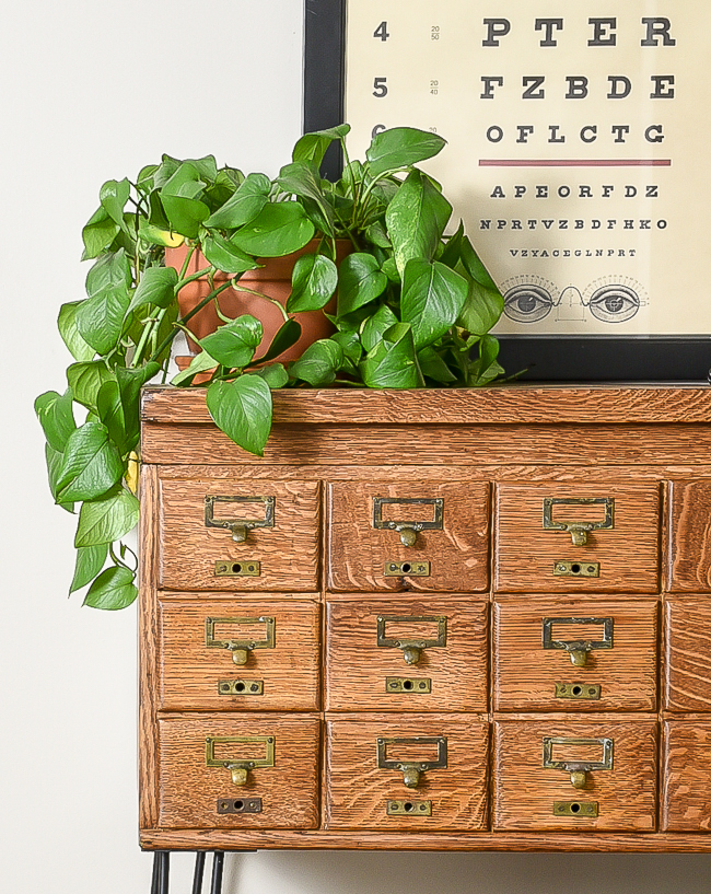 Refinished 18 drawer vintage card catalog