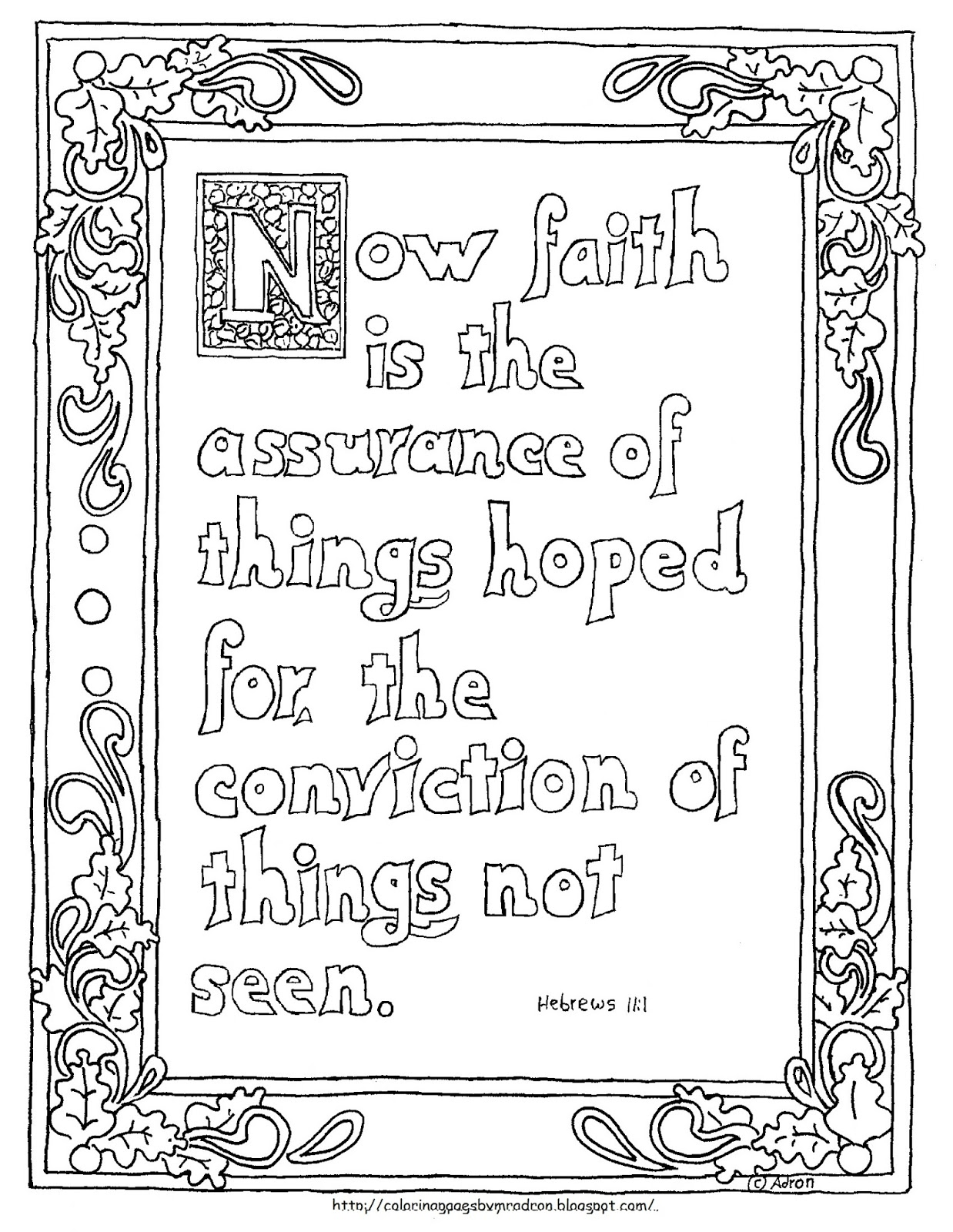 Coloring Pages for Kids by Mr Adron Printable Hebrews 11 1