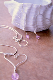 Simple heart: sterling silver, Swarovski, pendant & earrings :: All Pretty Things
