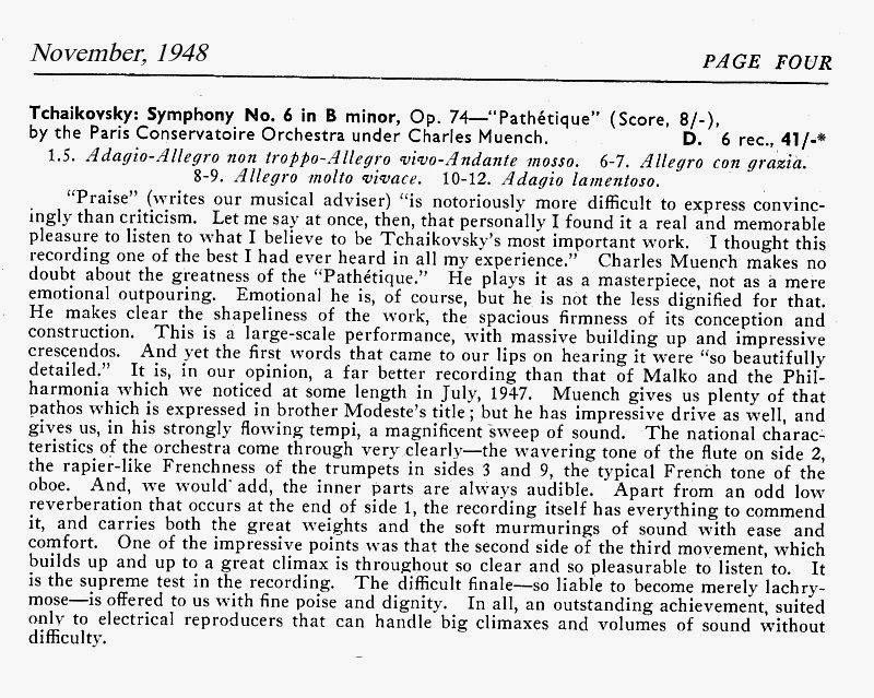 The Music Parlour ~ Historical: Charles Munch / Paris Conservatoire
