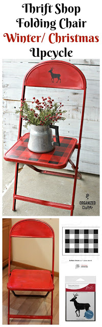 Vintage Thrift Shop Chair Upcycle  #oldsignstencils #buffalocheck