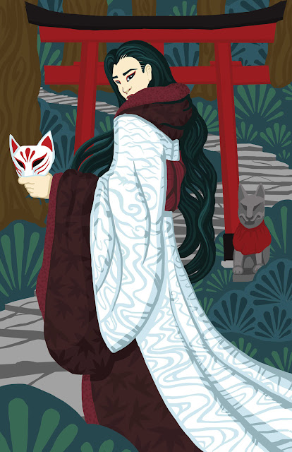An illustration of a person in a white and red kimono, holding a fox mask