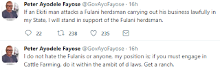 Ekiti State Governor, Ayo Fayose declares that he do not hate the Fulanis