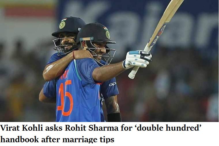 Virat Kohli asks Rohit Sharma for 'double hundred' handbook after marriage tips