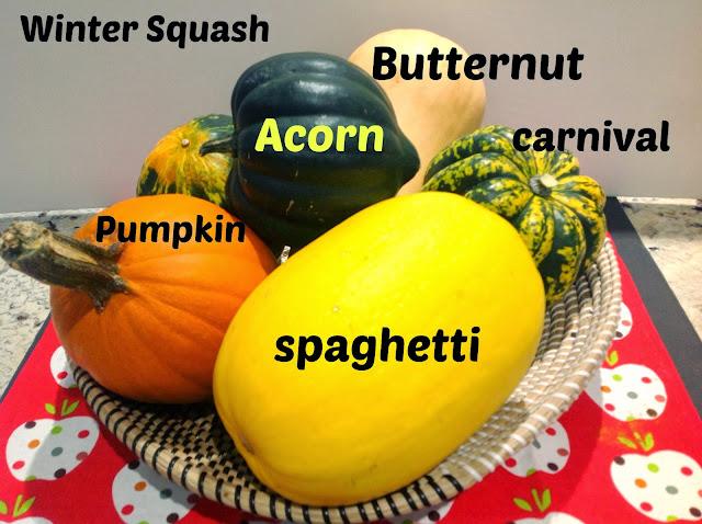 butternut, acorn, pumpkin, and spaghetti squash