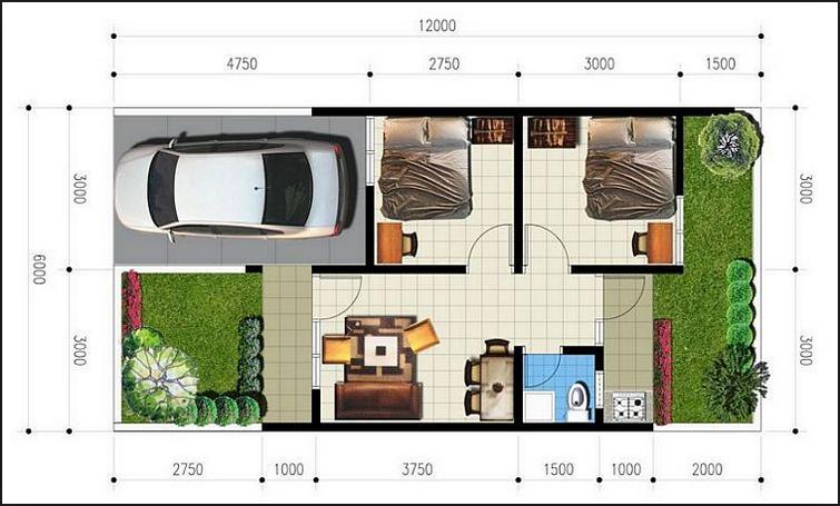 Contoh Denah Rumah Minimalis 6x12 Meter Gambar Desain Ukuran