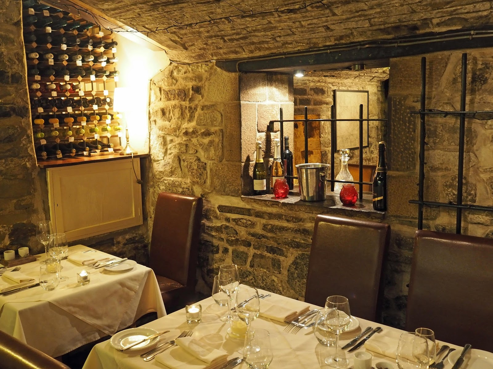 Le Caveau, excellent French restaurant in Skipton, North Yorkshire with lovely ambience