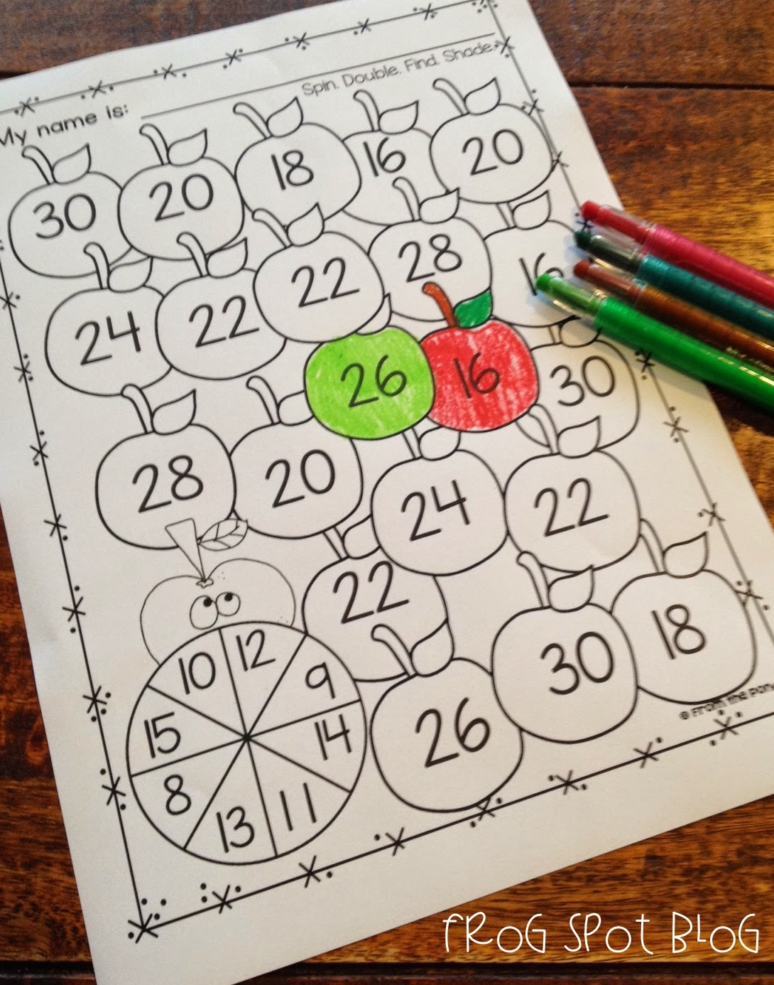 Double Apple Number Game Freebie