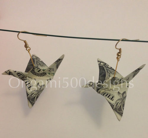 swan dollar bill earrings