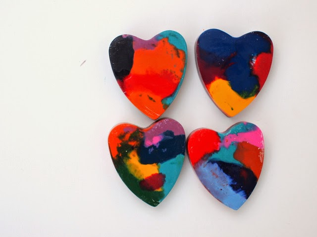 melted crayon heart crayons