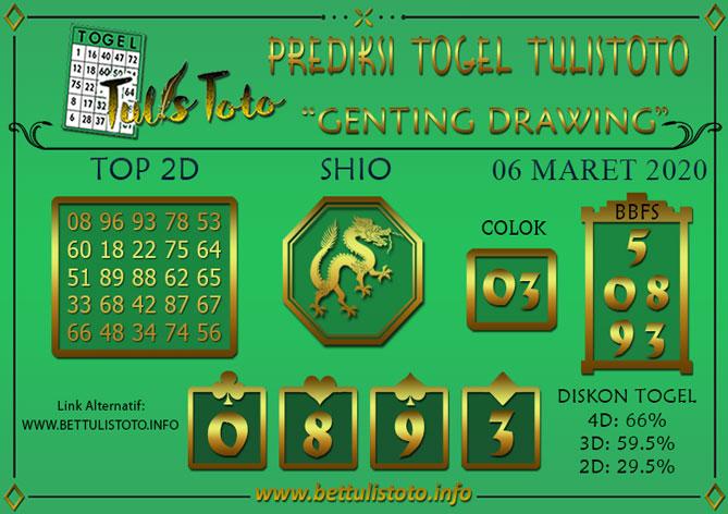 Prediksi Togel GENTING DRAWING TULISTOTO 06 MARET 2020