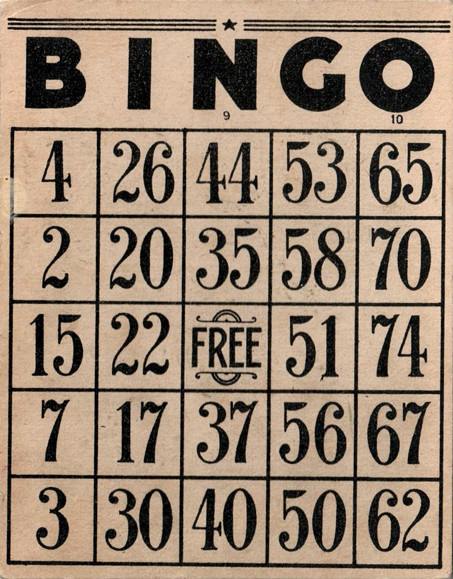 Vintage Bingo Card 41