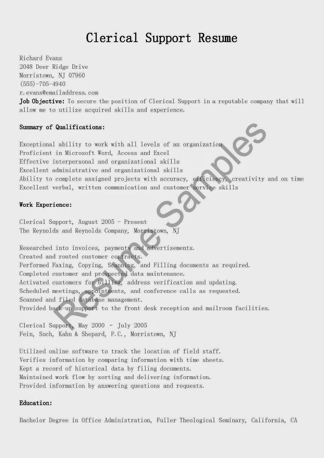 Resume Samples Clerical Support Resume Sample