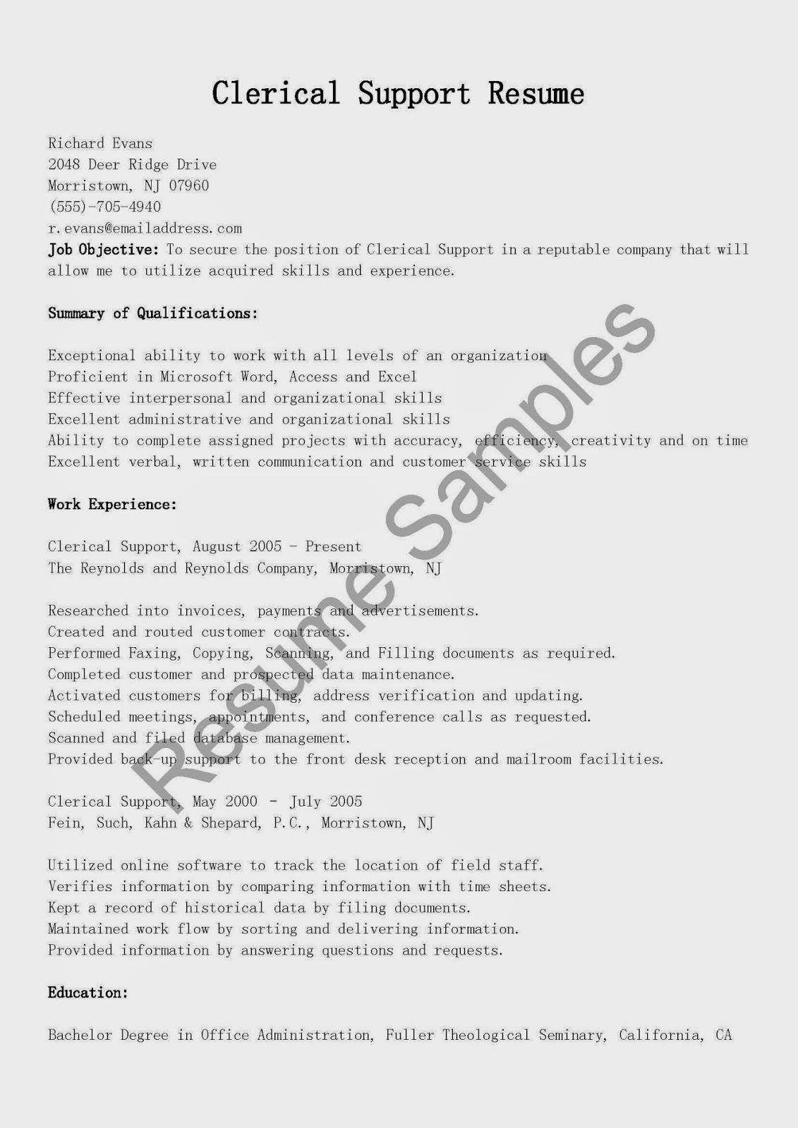 Clerical Resume Objectives Resume Samples Clerical Support Resume Sample