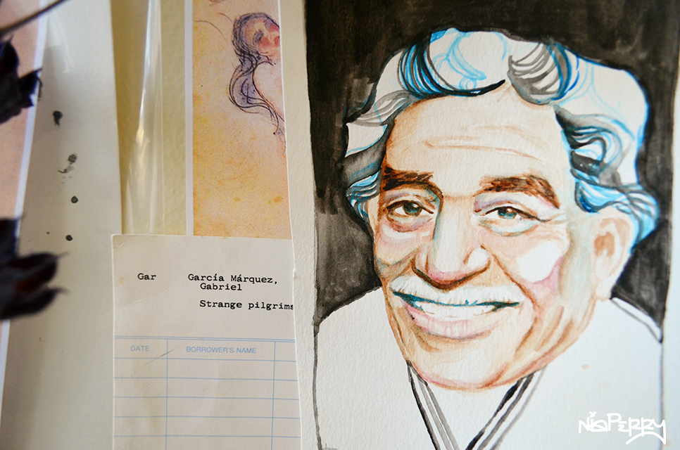 illustration of gabriel garcia marquez by Nia Perry