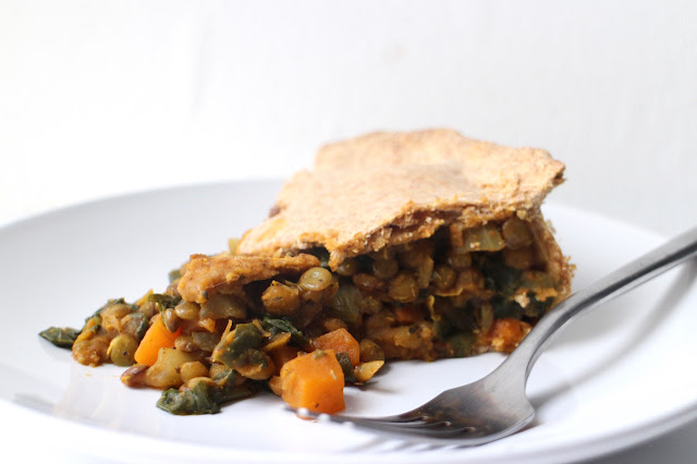 Curried Lentil and Spinach Pie