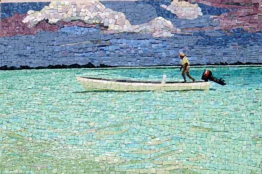 seni mosaik Storm is coming, seni mosaik lautan, seni mosaik air laut yang biru dan awan yang putih, seni mosaik perahu layar, seni mosaik kapal laut