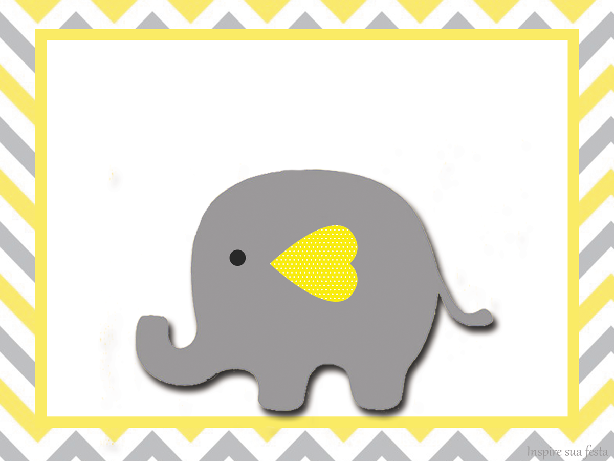 Baby Elephant In Grey And Yellow Chevron Free Printable Invitations And Free Printable Candy