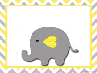 Baby Elephant in Grey and Yellow Chevron: Free Printable ...