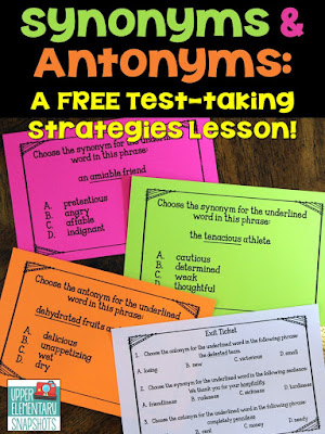 Teach your students three important test strategies for identifying synonyms and antonyms on standardized tests... even when they don't know what a word means! This FREE lesson contains a poster, an exit ticket, and three multiple choice teaching examples!