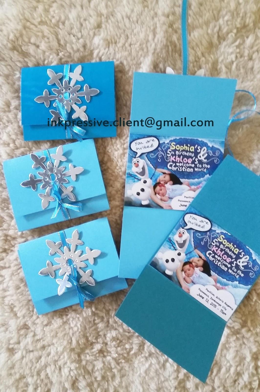 Lovely Flat Mini Invitation Cards ~ Frozen Theme | KIDDIE INVITATIONS MF19