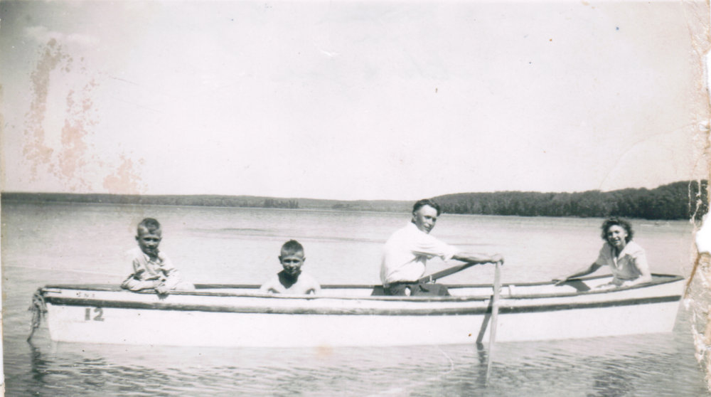 Ann Cazakoff with her brother and her nephews at Madge Lake about 1943