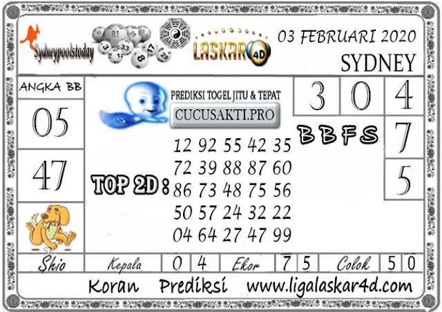 Prediksi Togel SYDNEY LASKAR4D 03 FEBRUARI 2020