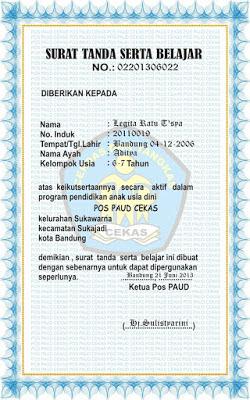 Contoh Sertifikat/Piagam/Ijazah Siswa Anak PAUD KB TK TPA