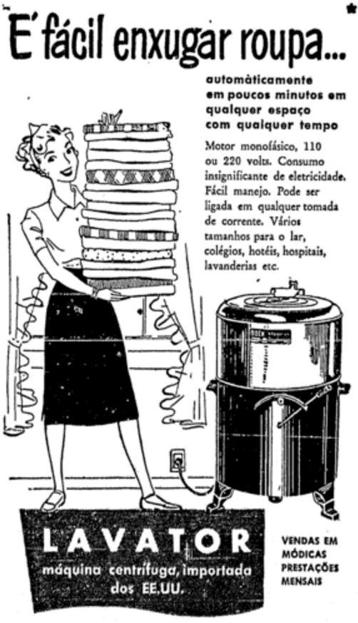 Propaganda da máquina de lavar automática: novidade nos lares dos anos 50.