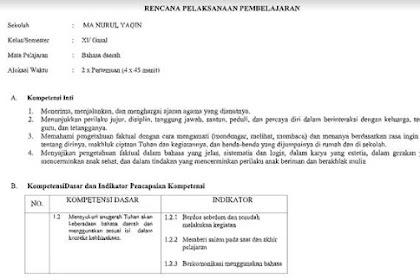 RPP Bahasa Jawa Kelas 11 Kurikulum 2013 Revisi