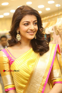 Actress Kajal Agarwal Stills in Golden Silk Saree at Trisha Sesigner Store Launch  0027.jpg