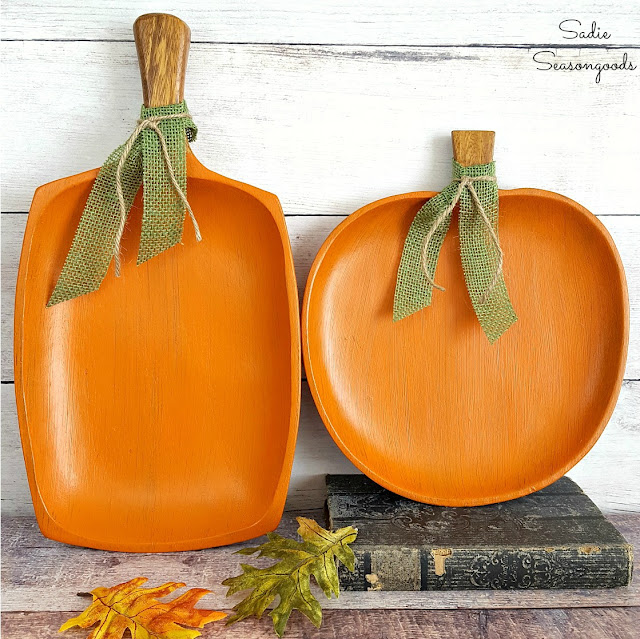 Painted P\pumpkins made from thrift store wooden trays.
