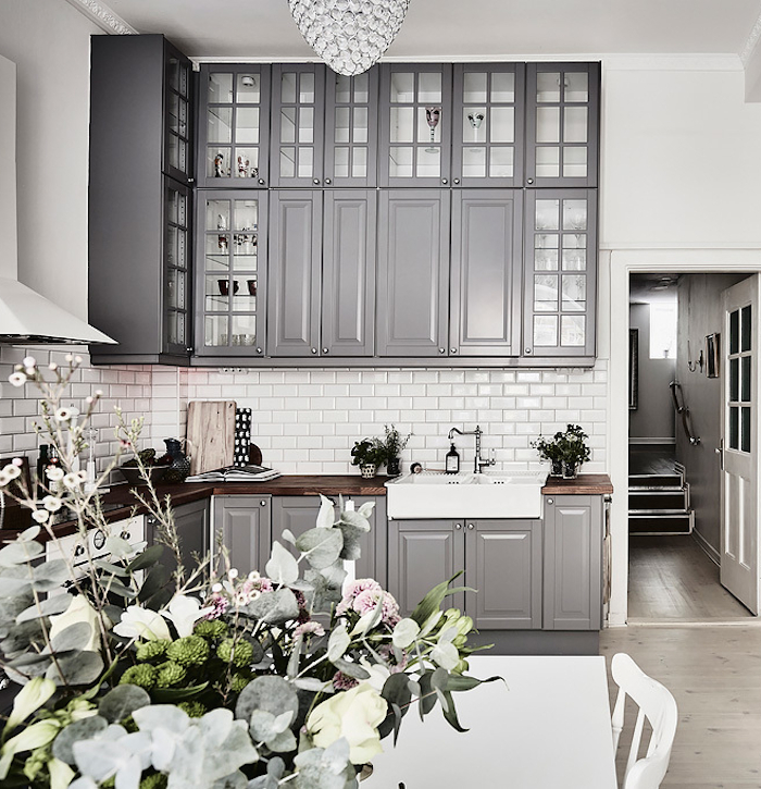 Kitchen Cabinets Gray: Aschebergsgatan 27,Grey & White Swedish Apartment