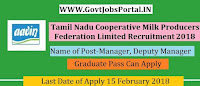 Tamilnadu Cooperative Milk Producers Federation Recruitment 2018– 20 Manager , Deputy Manager