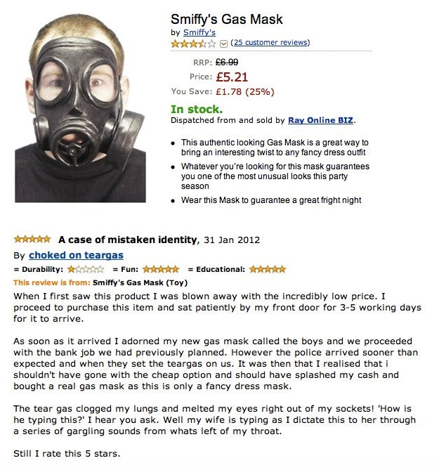Smiffy's Gas Mask Amazon Review Funny Picture