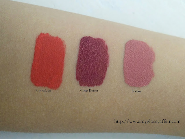 colourpop UltraMatte Lipsticks Solow, Succulent, More Better Swatches